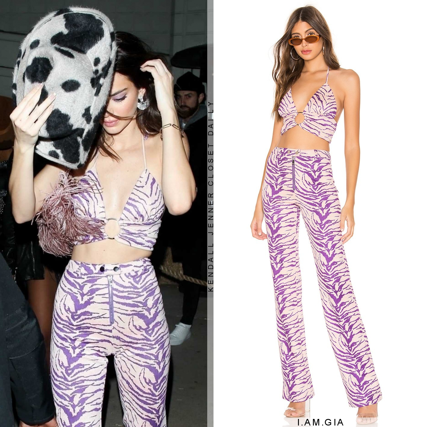 Kendall Jenner sizzled in Straight fit I. AM. GIA purple zebra printed pants with striped