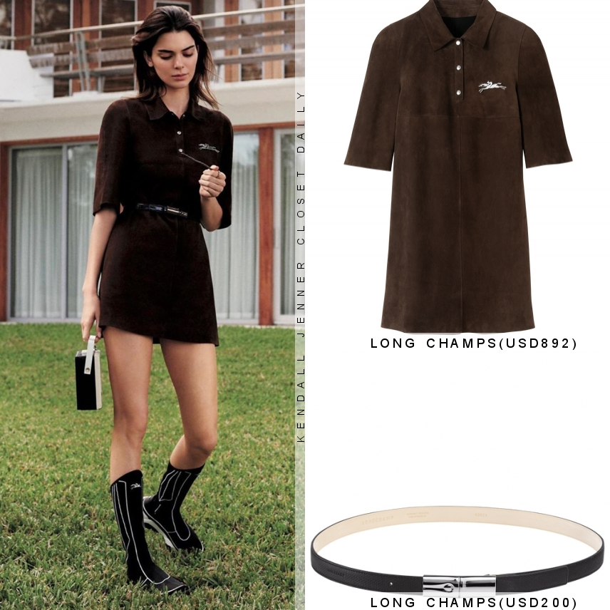 Kendall Jenner donning a Close fitting brown Long Champs shirt dress with elbow length sleeves, shirt collar, embroidered and cinched waist