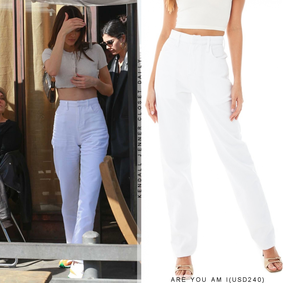 Kendall Jenner rocking striped white orange lace-up sneakers by New Balance