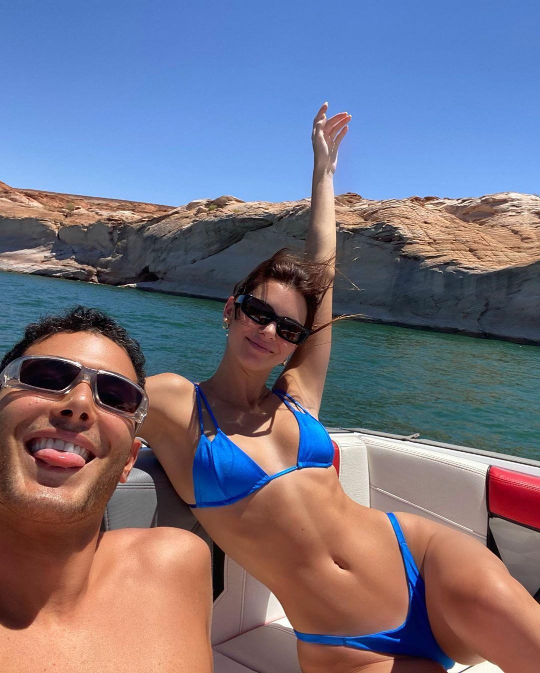 Kendall Jenner wearing Striking blue Sommer Swim bikini bottom