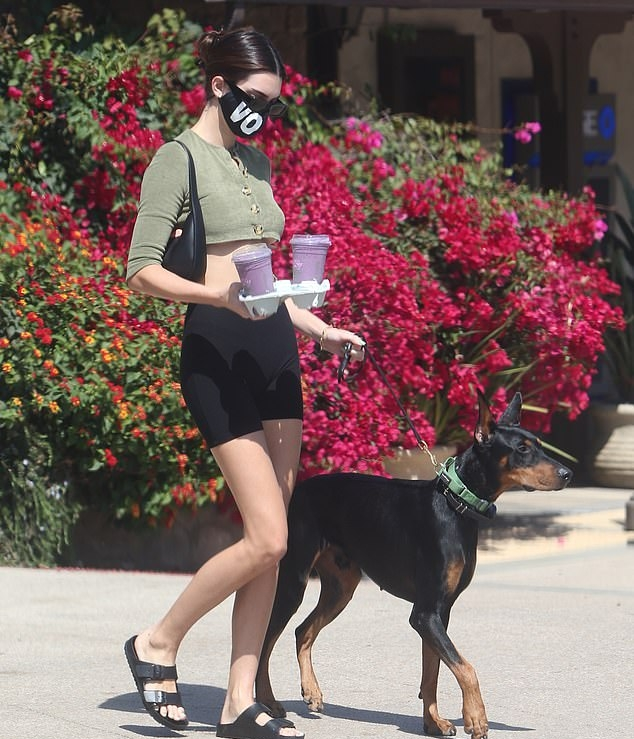 Kendall Jenner wearing Black skinny bite shorts while picking up smoothies with her dog Pyro