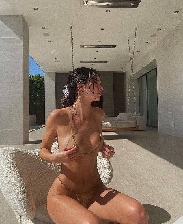 Kendall Jenner donning skimpy nude nylon bikini bottom with G string back