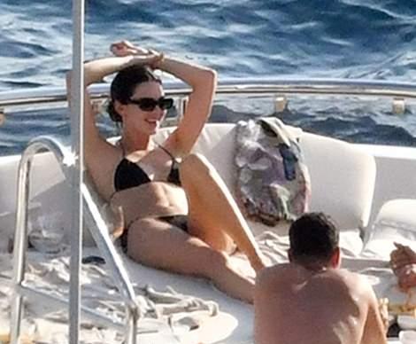 Kendall Jenner wearing skimpy black high waist bikini bottom