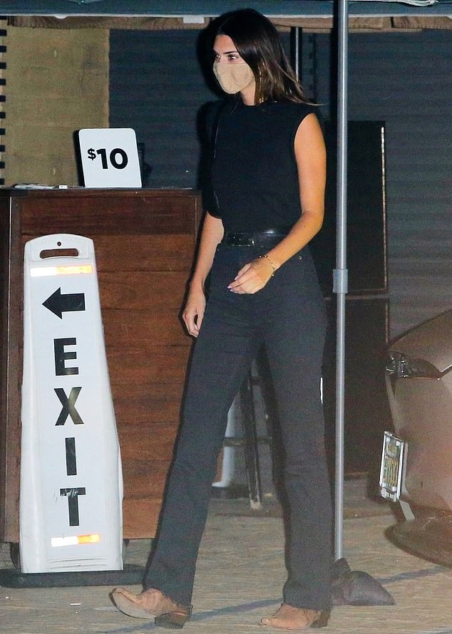 Kendall Jenner wearing pointy tan leather boots with low heel