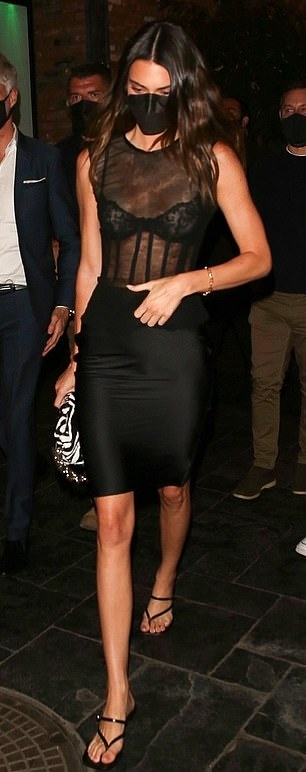 Kendall Jenner wearing square black slip on sandals with kitten heel