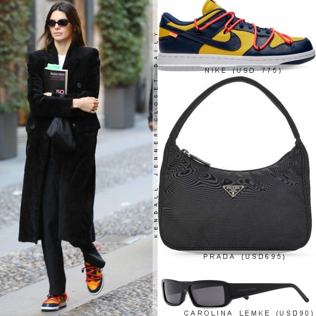 Kendall Jenner donning black leather lace-up sneakers