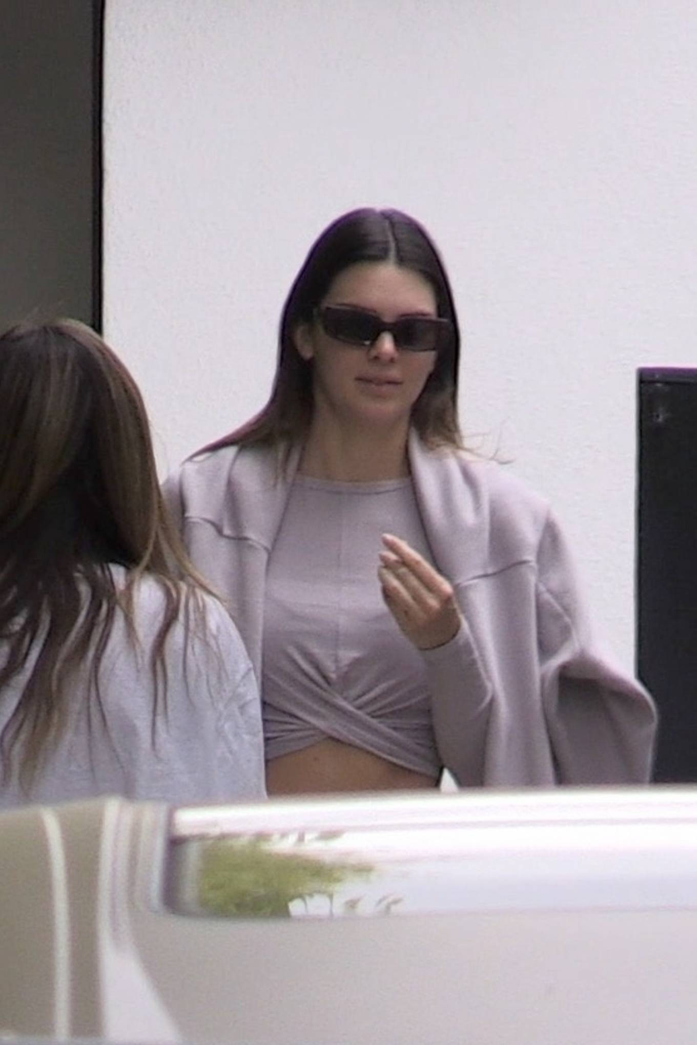 Kendall Jenner wearing a fitted lavender top with full sleeves and a round neck