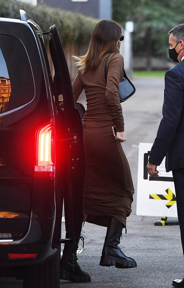 Kendall Jenner wearing a Figure hugging brown maxi dress with a stretch fabric material, full sleeves and a turtleneck