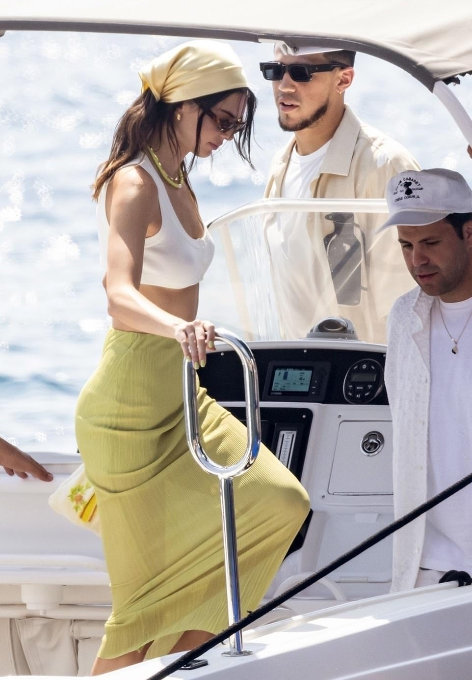 Kendall Jenner rocking round green leather peep toe sandals by simonmiller