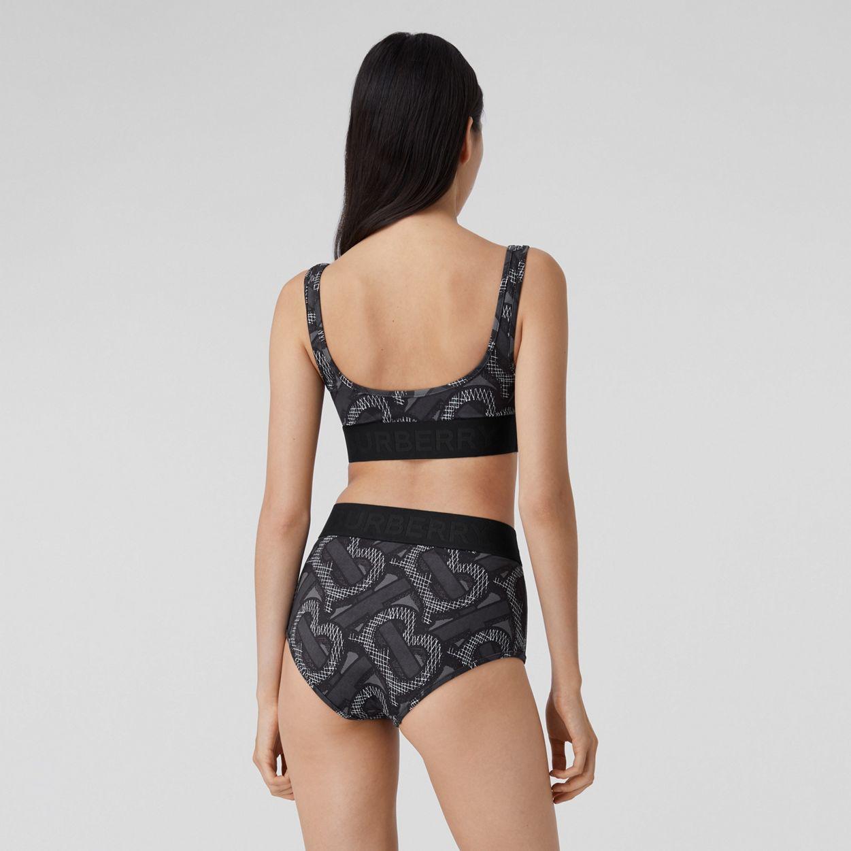 Kendall Jenner donning Skinny grey printed Burberry bikini bottom with high waist
