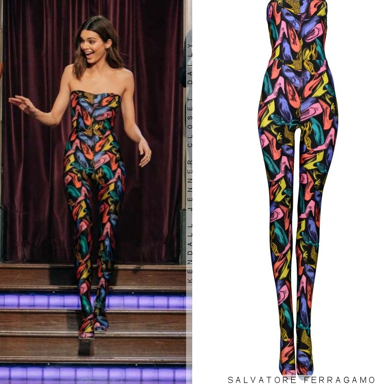 Kendall Jenner, black  jumpsuit, strapless, Salvatore Ferragamo  jumpsuit, low neck, formfitting, make the most, patterned print, vintage, printed
