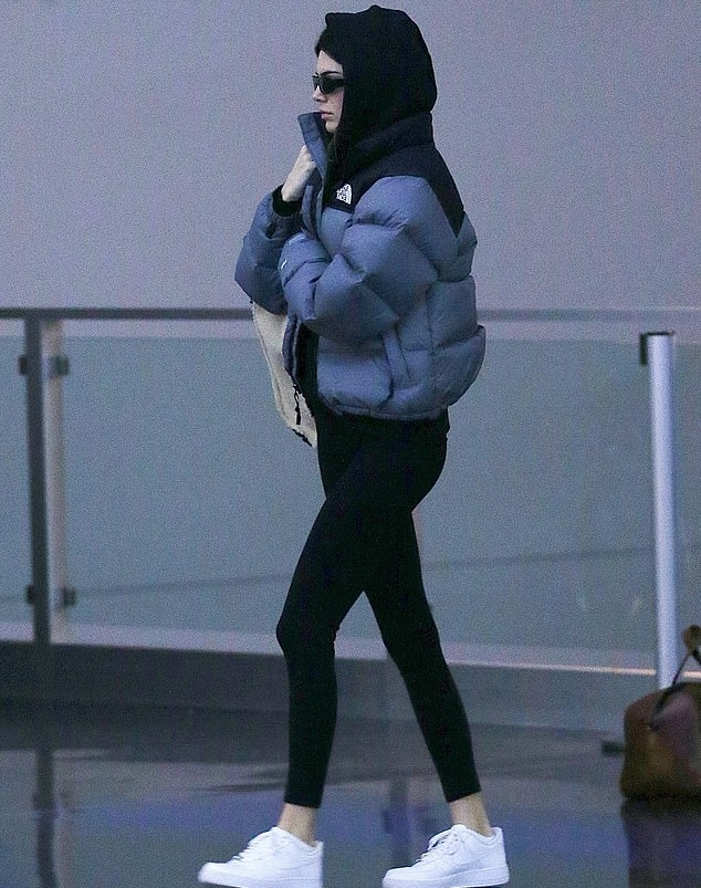 Kendall Jenner donning a grey and black North Face puffer jacket with long sleeves and stand-up collar