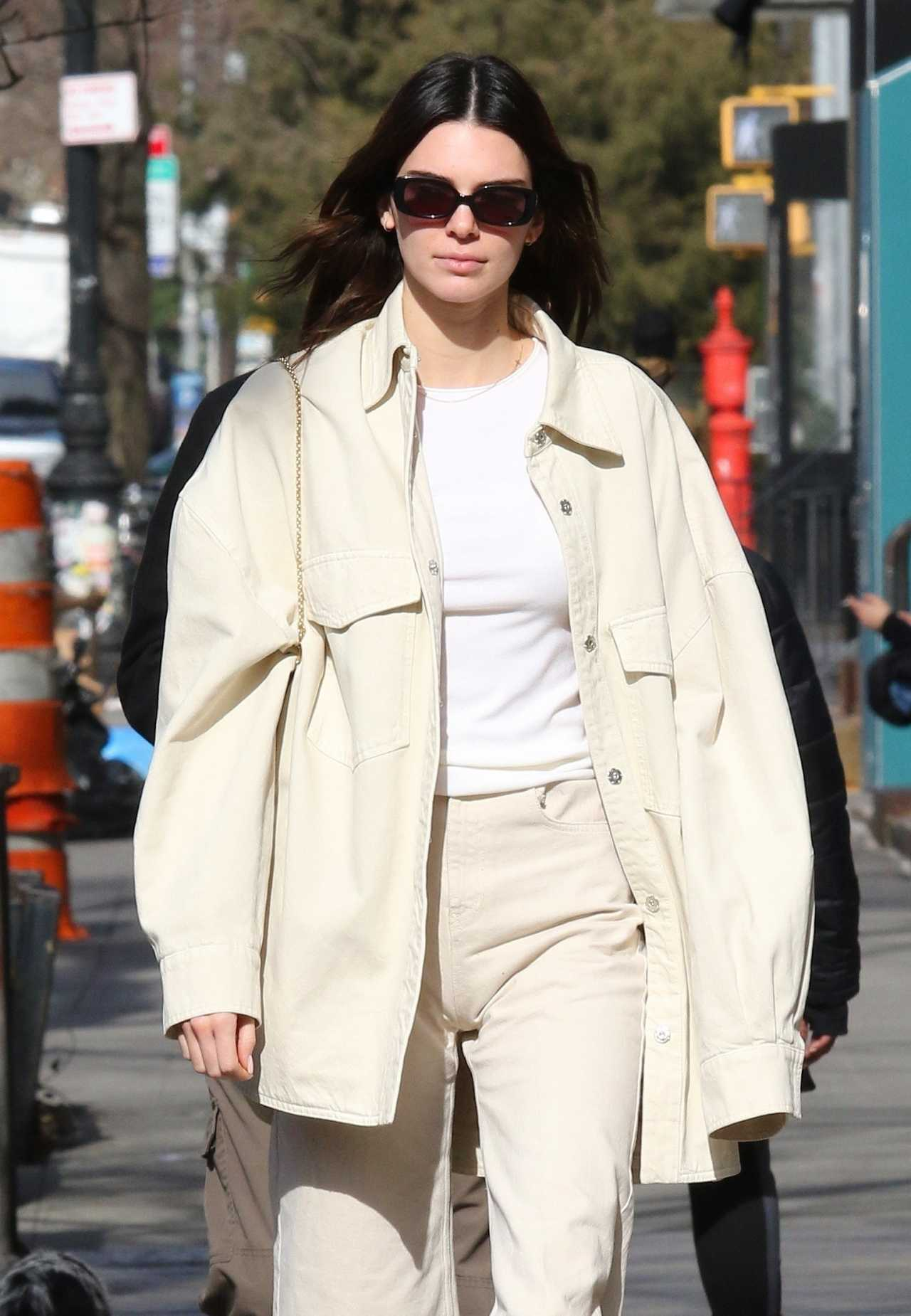 Kendall Jenner donning a white basic tee with a crew neck