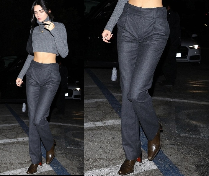 Kendall Jenner donning a straight fit grey pleated ankle length trousers with side pockets