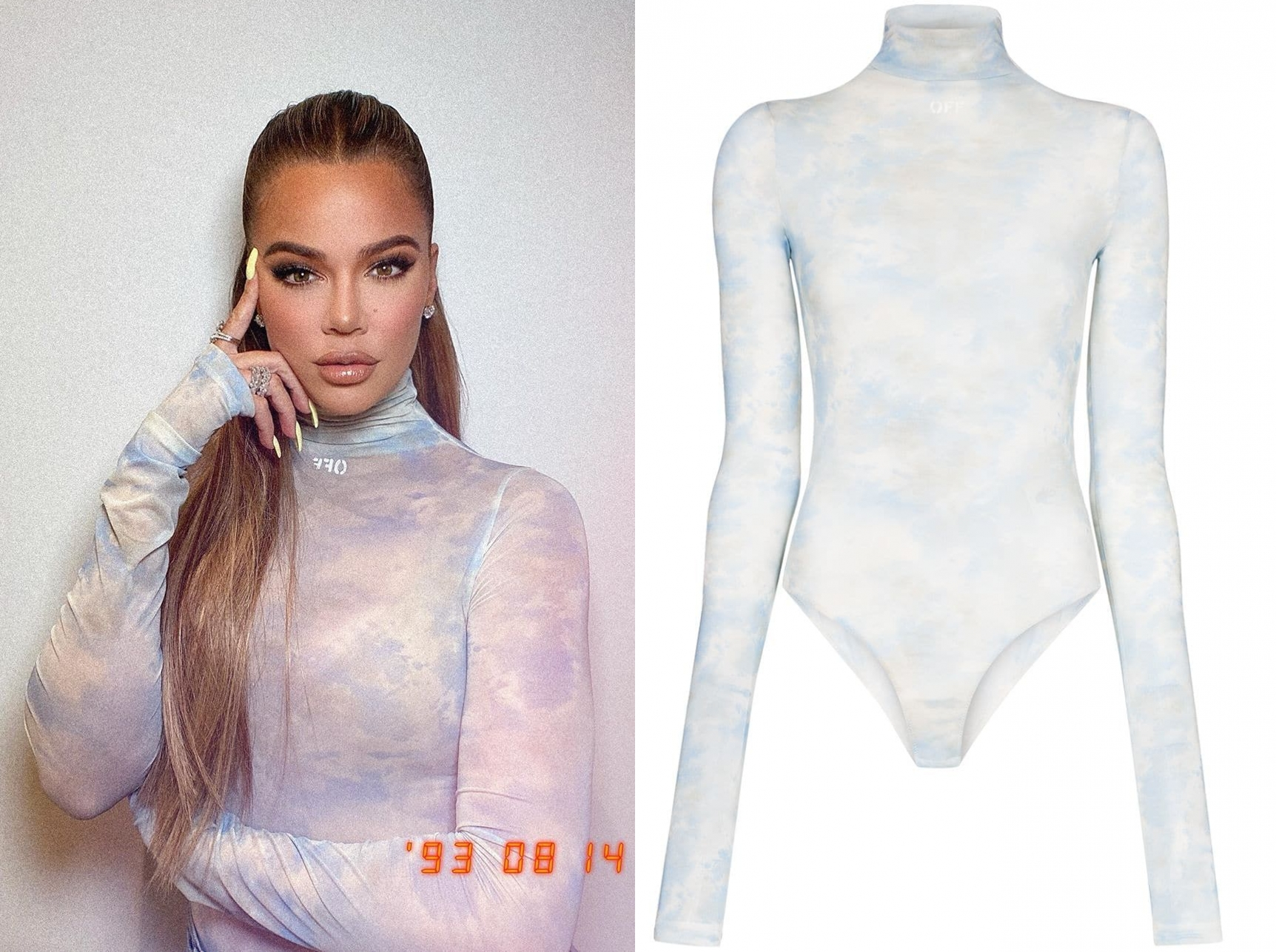 Khloe Kardashian rocking a Sheer silver light blue Offwhite bodysuit with a sheer material, extra long sleeves, brand logo and a turtleneck