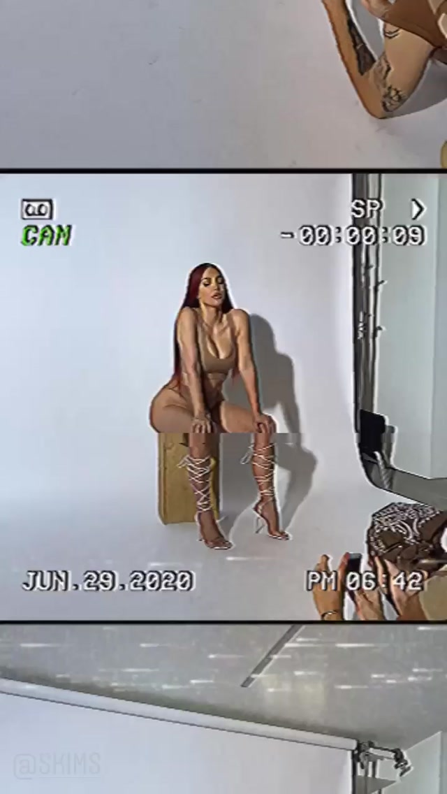Kim Kardashian rocking Skimpy sienna (beige) ribbed brief with high rise