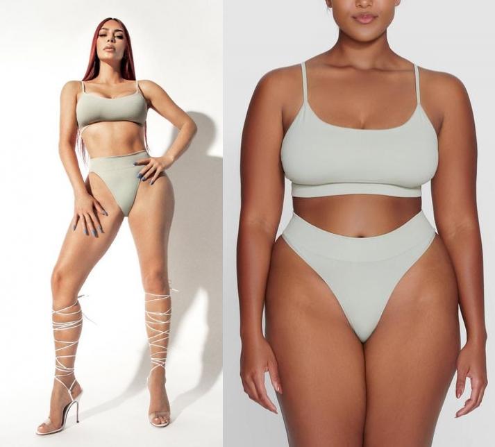 Kim Kardashian rocking Skimpy talc (grey) ribbed Skims thong with high waist
