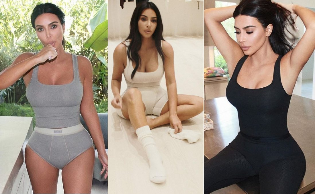Kim Kardashian wearing a White ribbed Skims classic tank top with a ribbed cotton fabric material, a scoop neck and wide strap