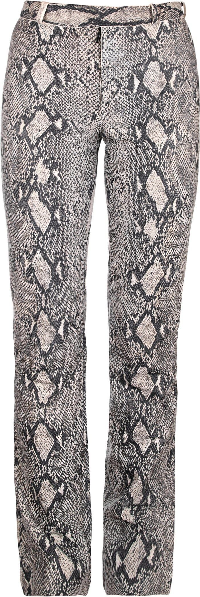Kim Kardashian donning Straight fit grey snakeskin printed trousers with a snakeskin fabric