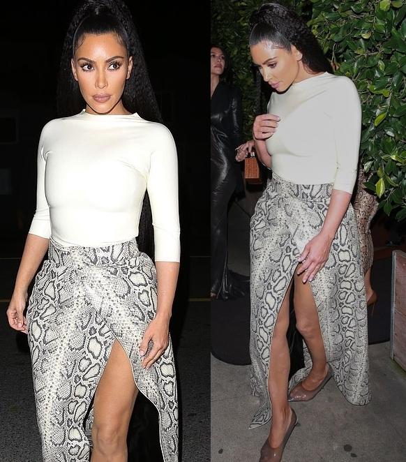 Kim Kardashian wearing transparent light grey Yeezy pumps with pointy heel