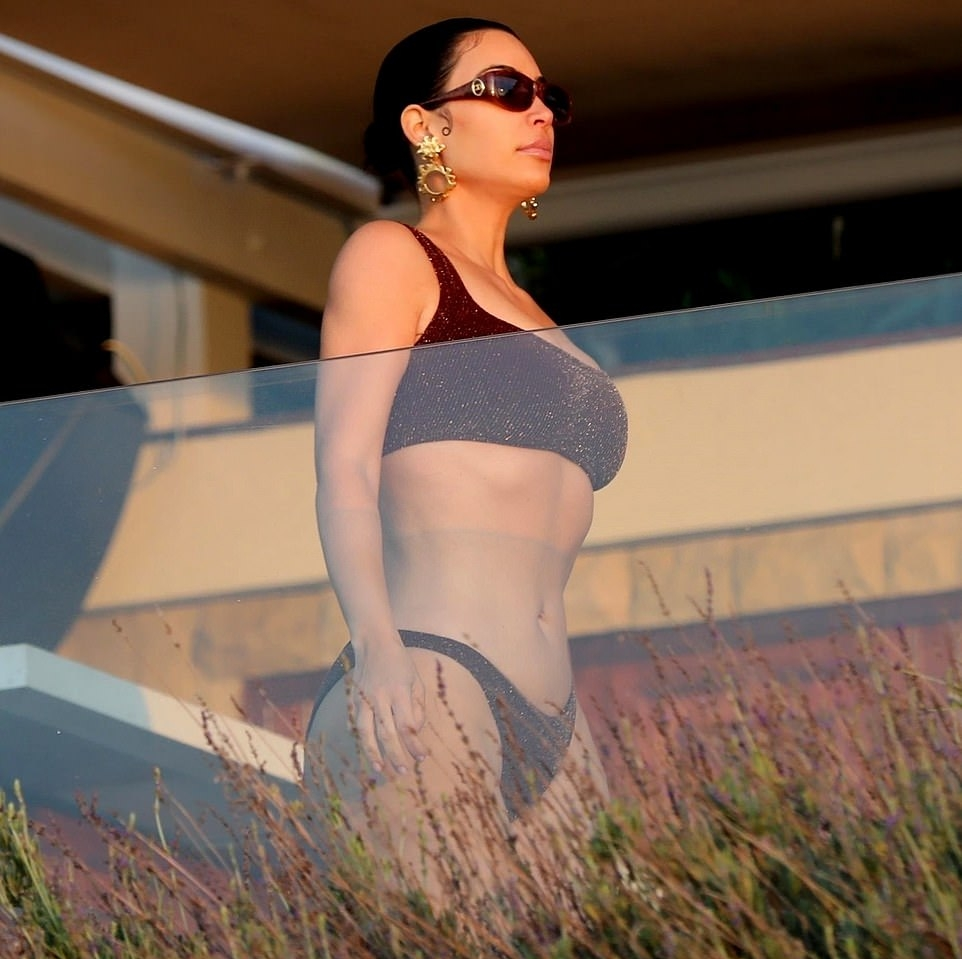 Kim Kardashian sizzled in Glittery brown Hunza G bikini bottom