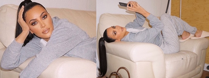 Kim Kardashian, white  slippers, brown Hermes purse, grey sweatshirt, round, grey track pants