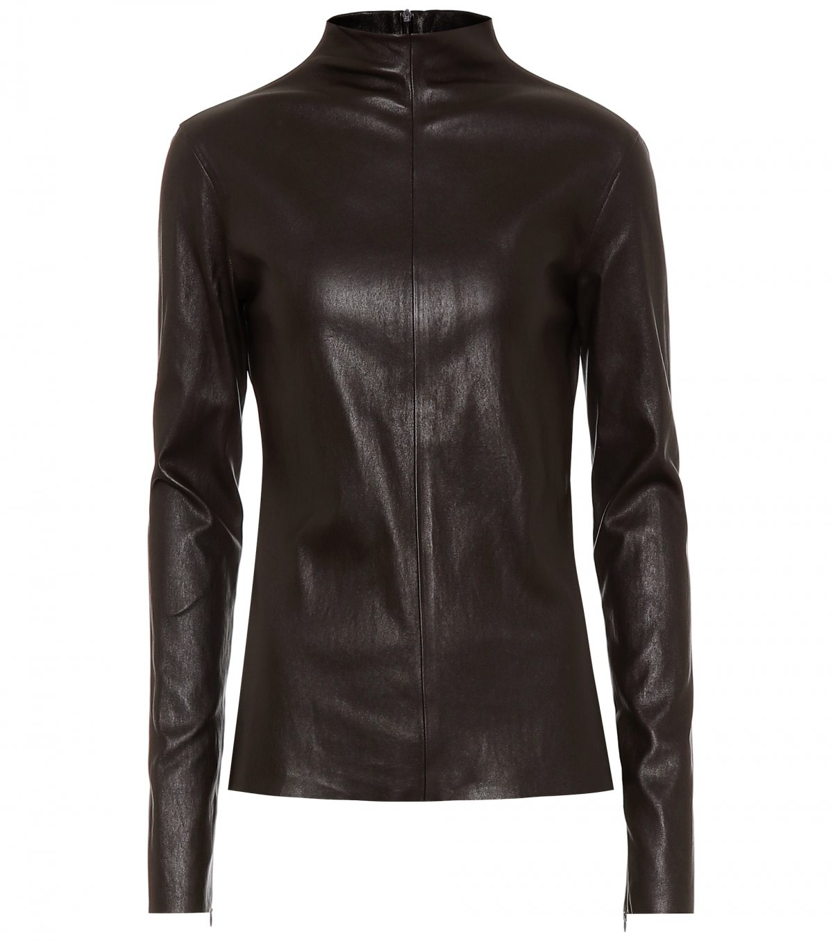 Kim Kardashian wearing a brown button front leather coat with a snakeskin fabric, extra long sleeves, wide collar and flap pockets