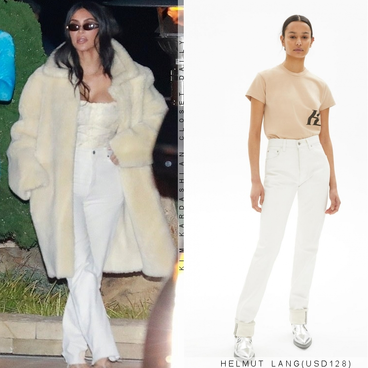 Kim Kardashian rocking strappy white leather open toe sandals with high heel and thin straps
