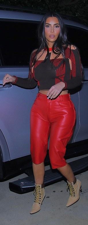 Kim Kardashian rocking sharp Nude brown ankle boots by Manolo Blahnik with high heel