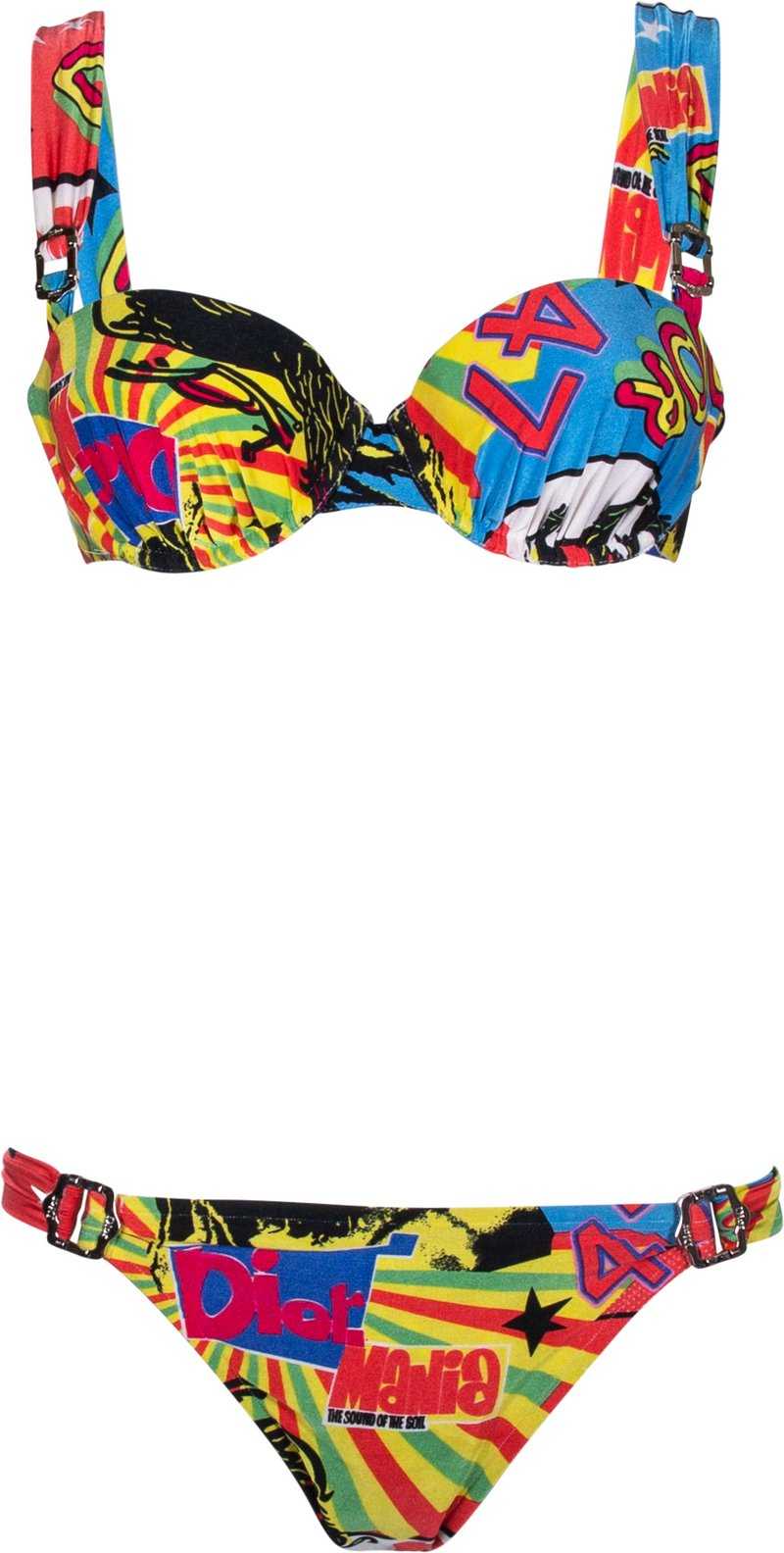 Kourtney Kardashian wearing Skimpy multicolor graphic print bikini bottom by Dior