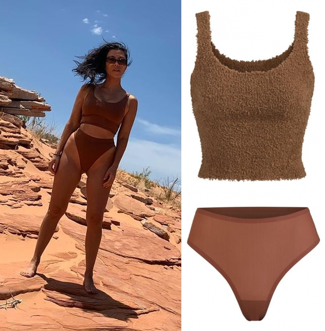 Kourtney Kardashian donning Skimpy Jasper (Brown) cotton high waist thong with a cotton fabric