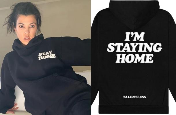 Kourtney Kardashian donning Baggy black Talentless sweatpants with high waist with side pockets and ribbed trim hem