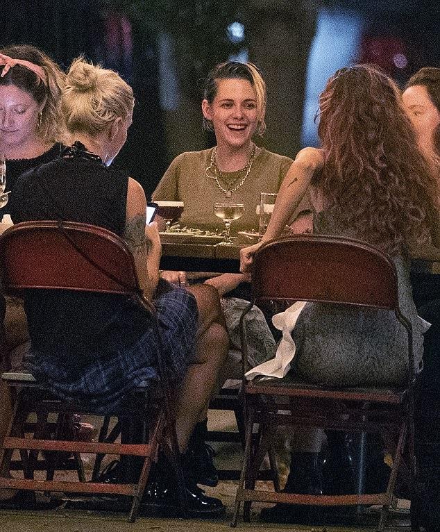 Kristen Stewart donning skinny black denim shorts