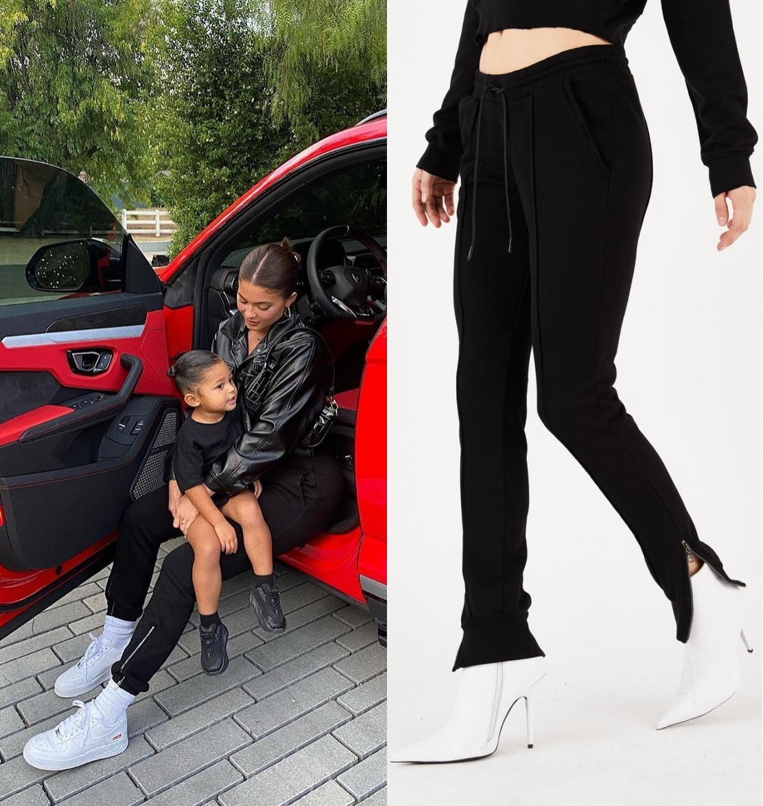 Kylie Jenner rocking white Nike lace-up sneakers