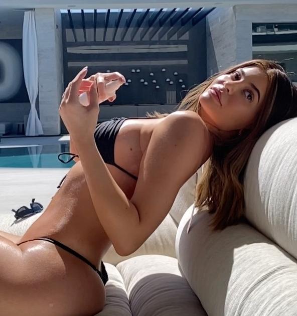 Kylie Jenner wearing Black skimpy Frankies Bikinis bikini bottom