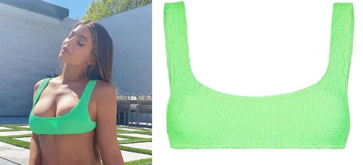Kylie Jenner wearing Skimpy neon green Reina Olga ribbed bikini bottom with a stretch fabric