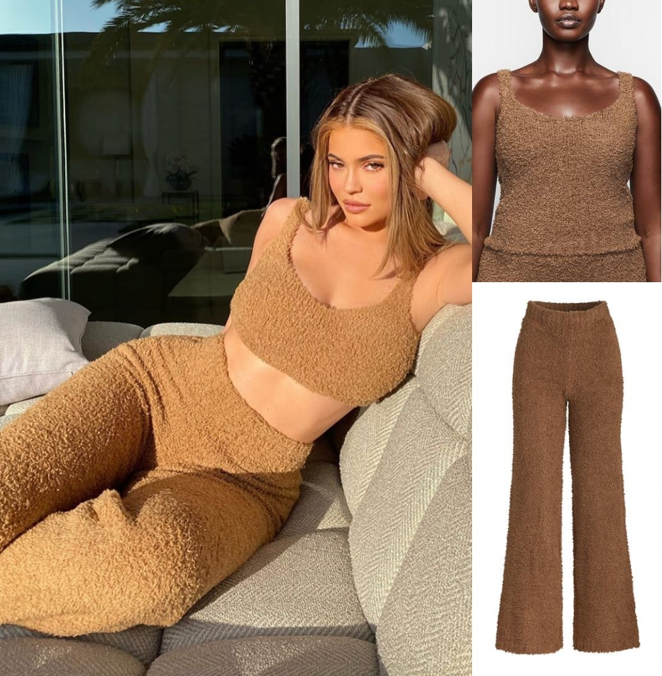 Kylie Jenner rocking loose fit comfortable Camel Skims Cozy Pants with breathable and stretchy boucle yarn that is supremely comfortable and ultra flattering and cozy knit, soft and fluffy