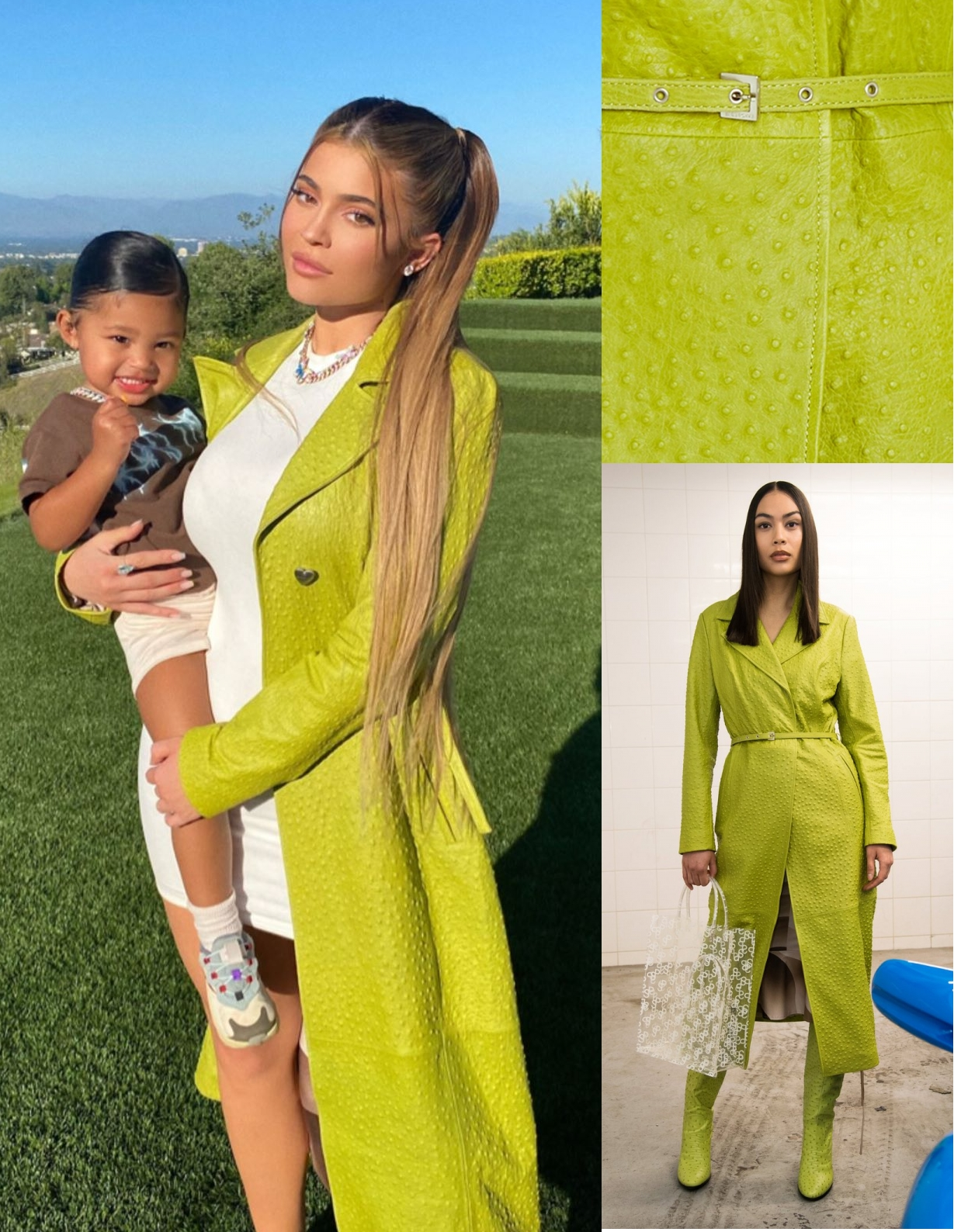 Kylie Jenner wearing a Classic fit green ostrich leather Saks Potts trench coat with a ostrich effect leather fabric, extra long sleeves, peak lapel collar and button front