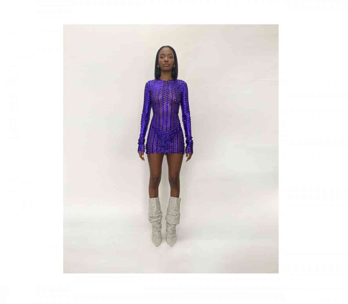 Kylie Jenner, purple  mini dress, fishnet, FEMME  mini dress, white Bottega Veneta sandals, sexy, extra long sleeves, crew neck, formfitting, display, flattering