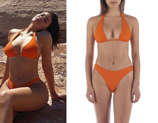 Kylie Jenner rocking Rust Dipped in Blue bikini bottom