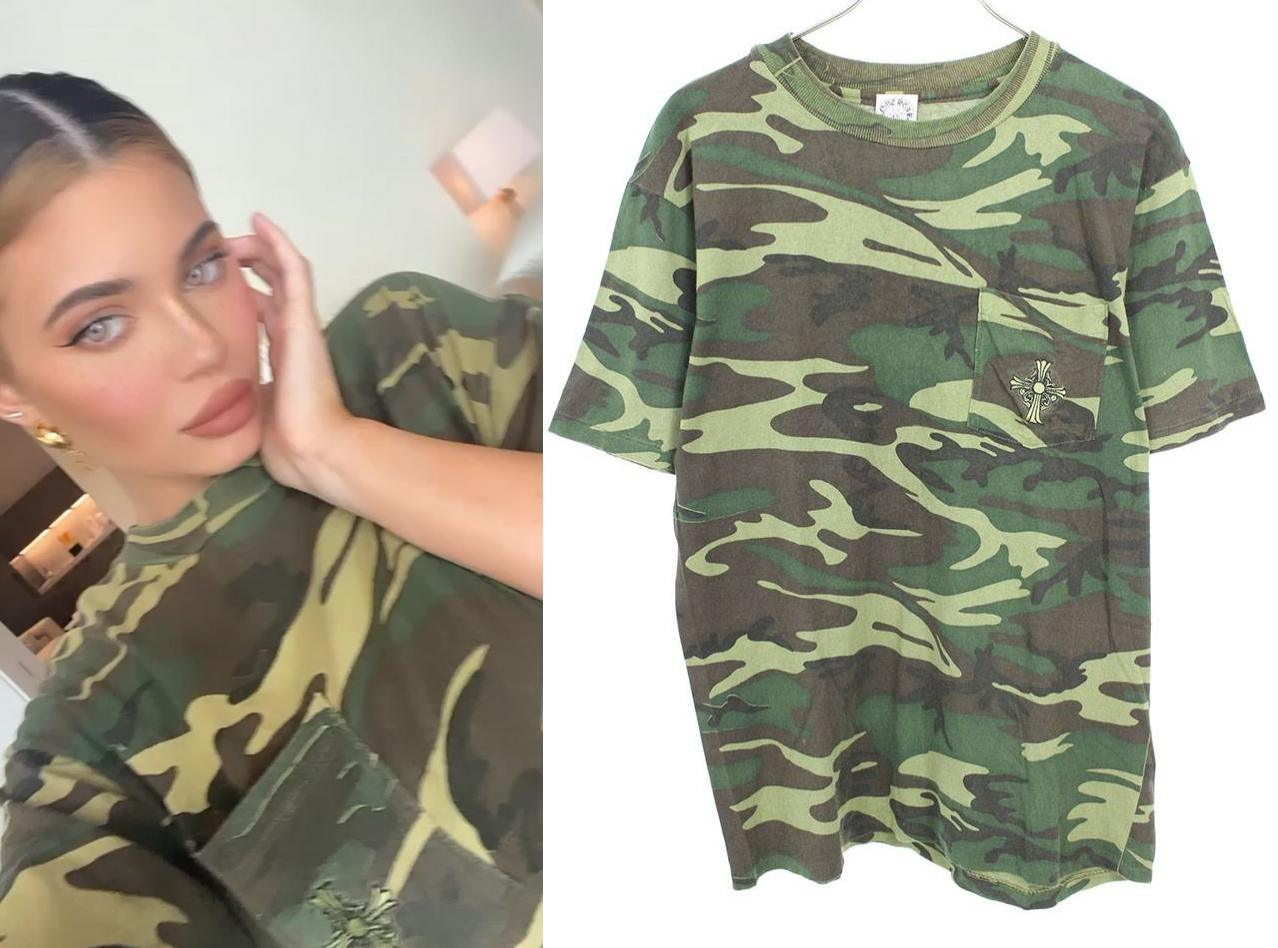 Kylie Jenner wearing a Khakhi Chrome Hearts emboidered camo t shirt with short sleeves and a crew neck