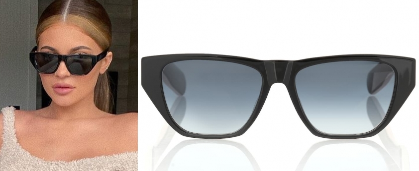 Kylie Jenner wearing a Dior acetate sunglasses cat eye sunglasses