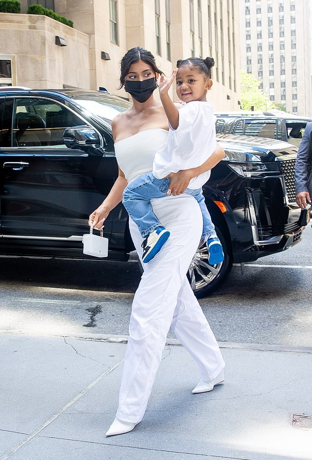 Kylie Jenner rocking straight fit white high waist pants