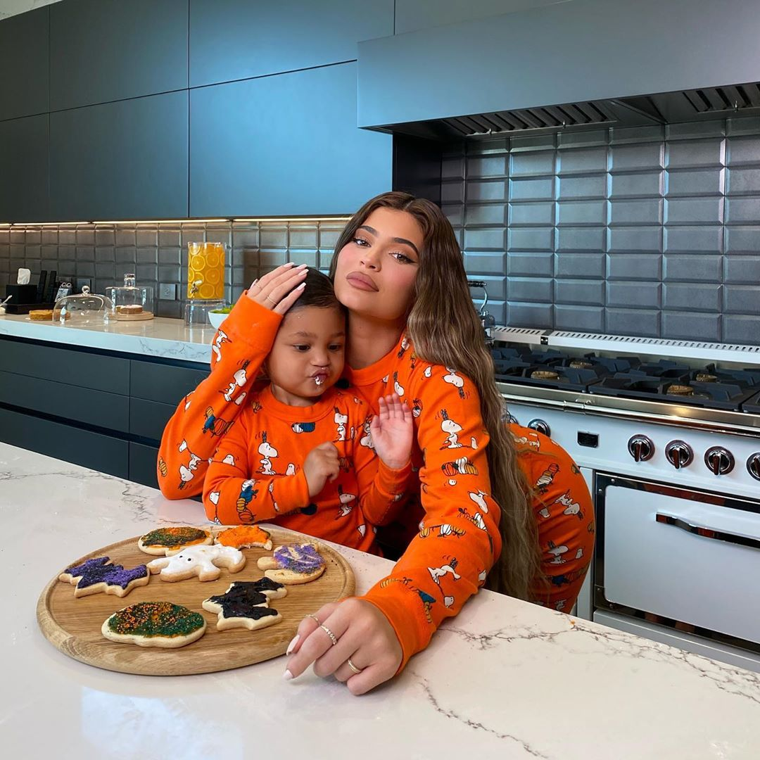 Kylie Jenner wearing oversized orange cotton patterned print baggy pajama