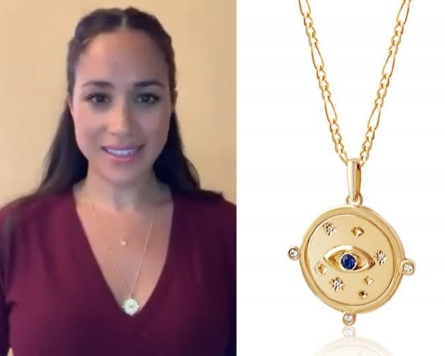 Meghan Markle rocking a gold Edge Of Ember necklace