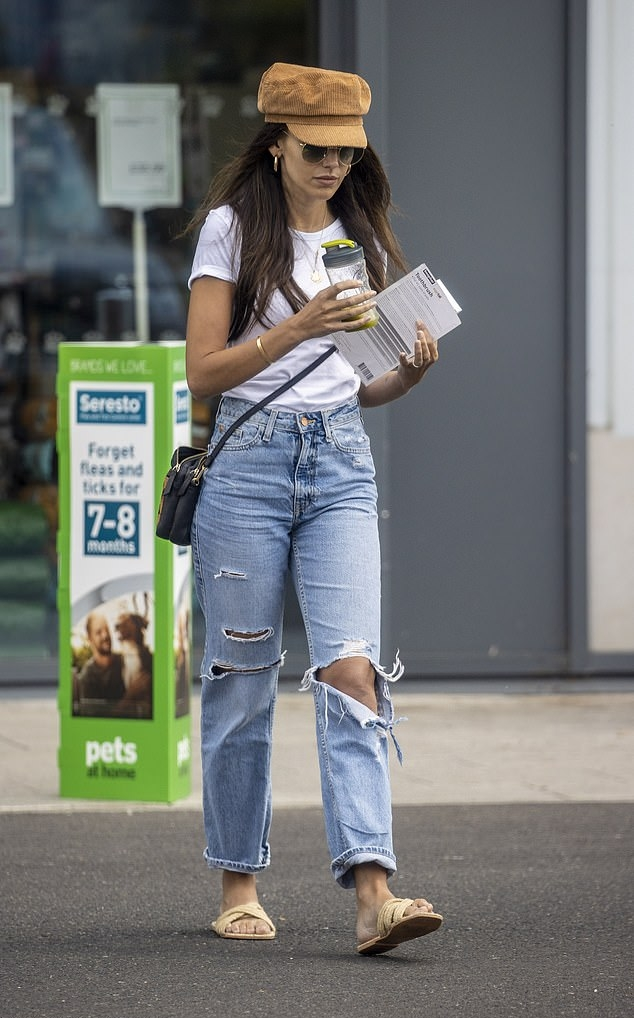 Michelle Keegan donning strappy cream open toe flats by Very with flat heel