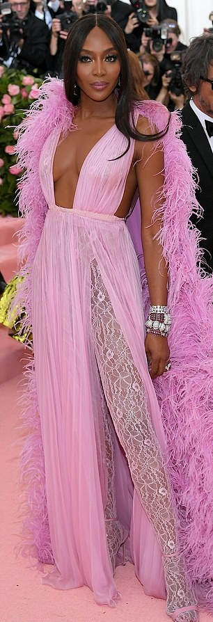Naomi Campbell donning a Plunging neck salmon pink gown with a sheer fabric, pleated, cinched waist and flared hem
