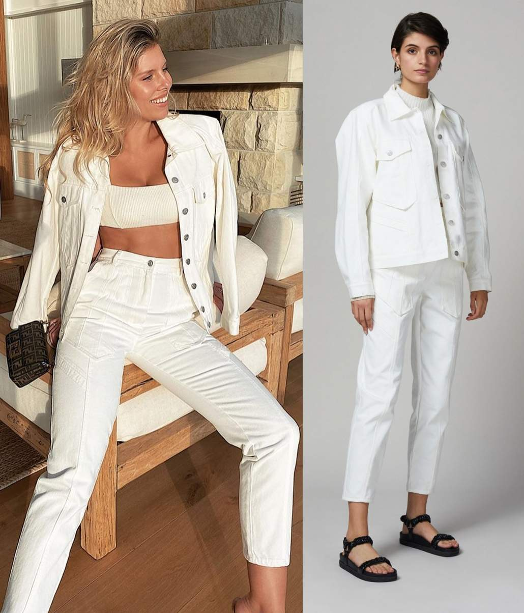 Natasha Oakley wearing a Oversized ivory Bec and Bridge denim jacket with a denim fabric, full sleeves, shirt collar and button front