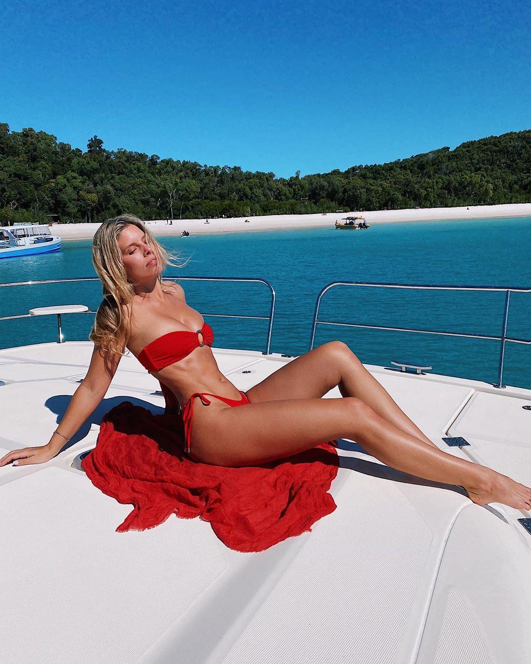 Natasha Oakley wearing Paprika Monday Swimwear bikini bottom