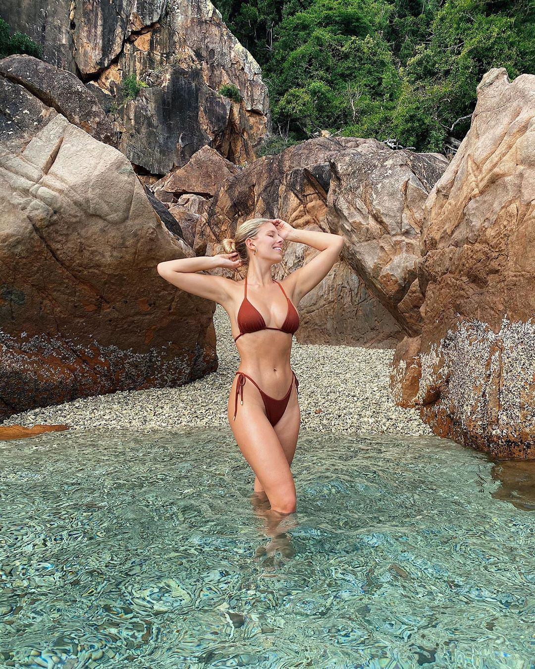 Natasha Oakley donning Clay Monday Swimwear bikini bottom